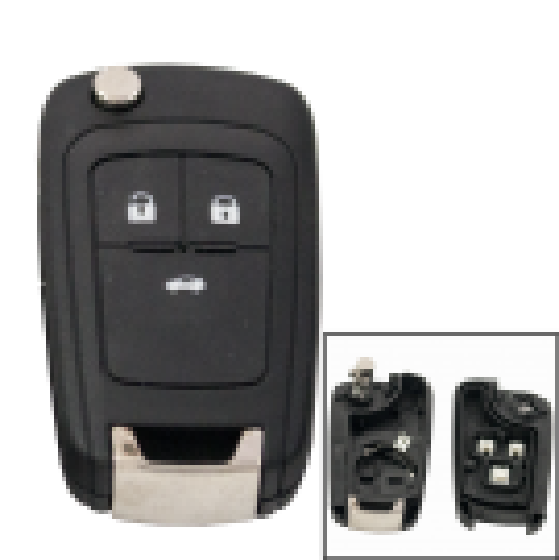 Klappschlüsselgehäuse 3 Taster für Opel mit HU100 Rohling (Alte Version)