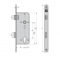 ES 920 Ö Mortise room door lock PZW